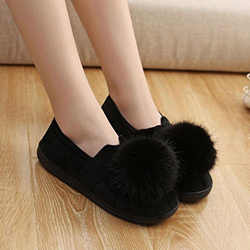 Ciabatte in cotone, Longra A tinta unita donne inverno spessore fondo palla Top Home anti-slittamento wrap heel pantofole di cotone, scarpe confinamento Nero