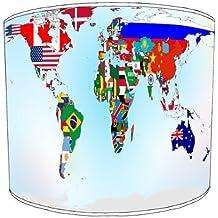 Premier Lampshades–Techo Mapa de bandera de mundo colorido tambor pantalla, plástico metal, Varios Colores, 30,5 cm
