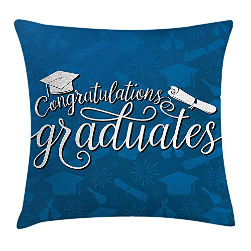 KLYDH Graduation Decor Throw Pillow Cushion Cover, College Celebration Ceremony Certificate Diploma Square Academic Cap, Decorative Square Accent Pillow Case, 18 X 18 Inches, Blue and White