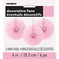 Unique Party 63250 - Ventaglio in Carta Velina Celeste Decorativi, Confezione da 3 Mini