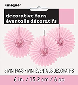 Unique Party- Paquete de 3 decoraciones abanicos pequeños de papel de seda, Color rosa claro, 15 cm (63250)
