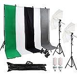 Desty Foto Hintergrund Mobiles Fotografie Fotostudio Set Komplett Zubehör Hintergrundsystem Schirm 135W Tageslichtlampe