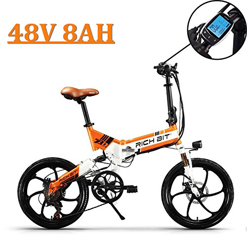eBike_RICHBIT 730 Bicicletas eléctricas Plegables Ciudad de cercanías Ciclismo 250W 48V 8AH para Hombres o Mujeres (Naranja)