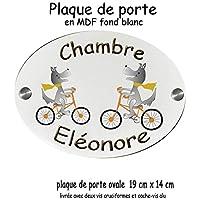 Texti-Cadeaux-Plaque de Porte de chambre personnalisable, Chien à vélo avec prénom exemple Eléonore