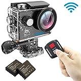immagine prodotto EKEN H9R Action Cam 4k Wifi Impermeabile Videocamera 170° Grandangolare Sport Action Camera con 2 batteria Charging dock e Tripod kit di montaggio(Nero)