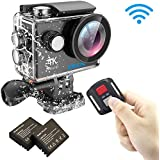 EKEN H9R 4K Action Camera, Caméra de sport étanche Full HD Wifi avec Vidéo 4K/ 2.7K/ 1080P60 / 720P120fps, 12MP Photo et 170 objectif Grand angle, comprend 17 kit de montage, 2 piles (Noir)