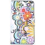 tinxi® PU Kunst Leder Tasche für LG L90 Tasche Hülle Flipcase Schutzhülle Schale Etui Skin Standfunktion mit Karten Slot Rund und Blume