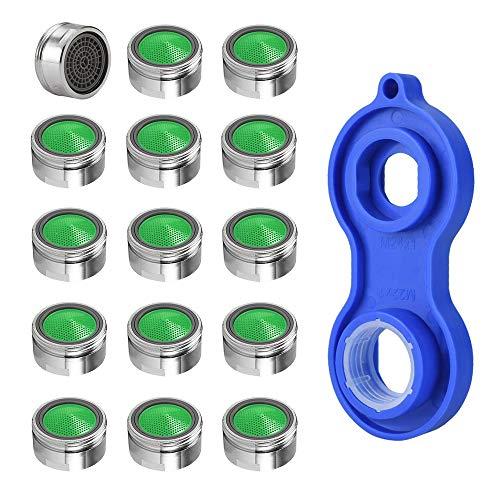 BUZIFU 15 Stück Perlator Strahlregler m24 Wasserhahn Sieb mit 1 *Schraubenschlüssel Luftsprudler für Wasserhähne, Badezimmer, Küche