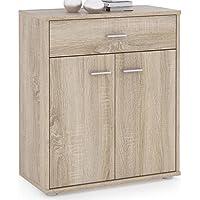 Buffet MONACO commode tiroir rangement mélaminé décor chêne sonoma