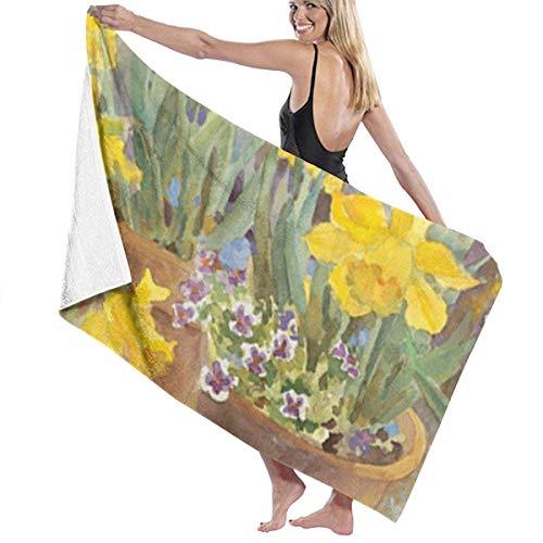 Gebrb Duschtücher/Badetücher,Strandtücher, Women's Bath Towel Wrap - Potted Daffodils Travel Waffle Spa Beach Towel Wrap for Girls Daffodil Girl