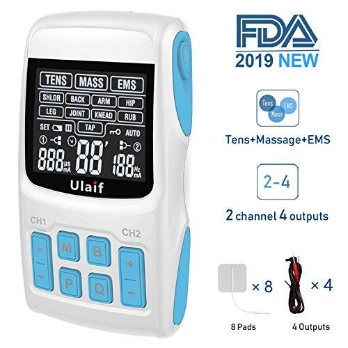 TENS Electroestimulador Muscular EMS TENS Masajeador por pulsos Combinación 3 en 1, Ulaif 2018 Aprobado por la FDA, 36 modos para aliviar el dolor y la fuerza muscular, salida de 2 a 4 canales, 8 Autoadhesivo Electrodos