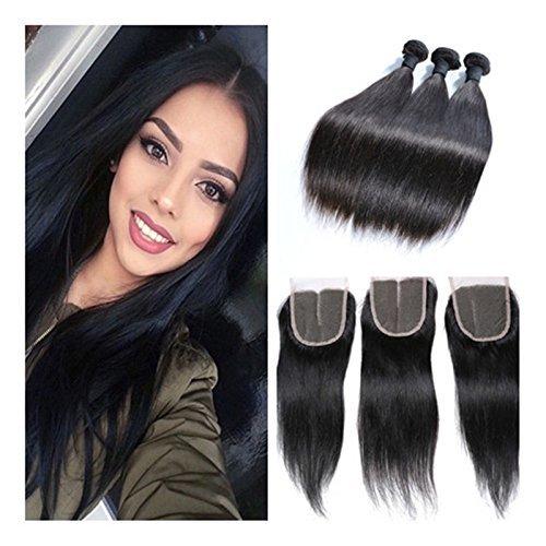 Longueur du mélange 100% brésilien Vierge naturelle tissage de cheveux humains droite Extension Cheveux non traités 3 lots couleur naturelle (12 14 16)