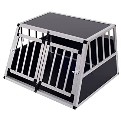 Pawhut Aluminium Dog Cage Crate Kennel Pet Carrier Cat Transport House Animal Training Box Two Sizes by Sold by MHSTAR