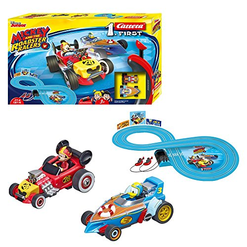 Carrera First Disney First Mickey and The Roadster Racers 20063012 Rennbahn für Kinder ab 3 Jahren Mickey Mouse Vs. Donald Duck