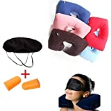 FAMEWORLD 3 in 1 Inflatable Neck Air Cushion Pillow, Eye Mask & 2 Ear Plugs (Color may vary)