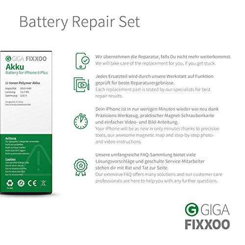 GIGA Fixxoo kompatibel mit iPhone 6 Plus Lithium-Ionen Akku Austausch-Set mit Bildanleitung zum Selbermachen; Komplettes Werkzeug Set zur Schnellen & Einfachen Reparatur