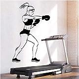 Pbbzl Decalcomania Della Parete Del Vinile Sport Girl Boxer Guanti Boxe Bella Body Art Decor Home Decor Stickers Murali Design Moderno Wall Sticker 58X38 Cm