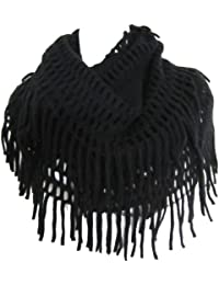 Crochet Fringed Infinity Circle Loop Figure Eight Endless Scarf Wrap