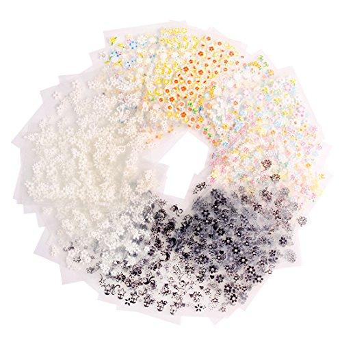 Andux 50 fogli 3d mix colore floreale adesivi e decalcomanie per unghie zjtz-02