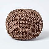 Homescapes Pouf Tricoté Marron Chocolat 100% Coton Repose-Pied Rembourré des Billes pour Le Salon, la Chambre des Enfants ou pour Les Personnes Âgées