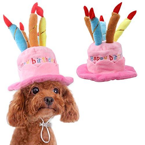OWUDE Haustier Geburtstag Hut, Cute Dog Geburtstag Hut mit Kuchen & Kerzen Design für Katzen und Welpen Party Kostüm Zubehör (Rosa) (Katze Im Hut Dog Kostüm)