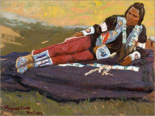 ild 120 x 90 cm: Flathead Brave von Maynard Dixon (Traditionelle Kleidung Von Amerika)