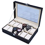 #3: TIED RIBBONS 12 Slot Faux Leather portable watch display box organizer case with Glass Window for Men/Women(Black)