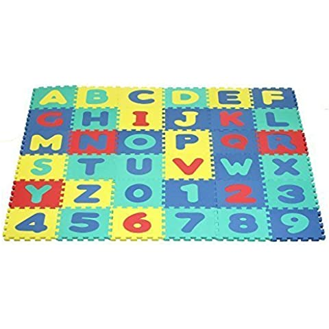 Click N' Play, Alphabet and Numbers Foam Puzzle Play Mat, 36 Tiles (Each Tile Measures 12 X 12 Inch for a Total Coverage of 36 Square Feet) by Homeco