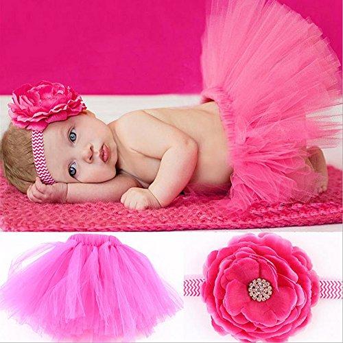 Infant Blume Kostüm - LZHA Neugeborenes Baby Kind Mädchen Blume Stirnband + Tutu Rock Foto Fotografie Kostüm Prop Kleidung Set,Rosered