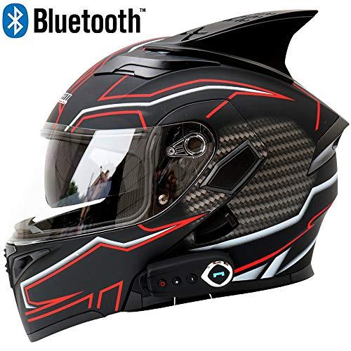 Casco moto Bluetooth Casco unisex Smart Anti-Fog D.O.T Doppia visiera Risposta automatica Flip multifunzione Caschi integrali,M