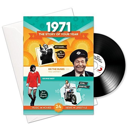 1971 Cumpleaños o Regalos de Aniversario - 1971 Tarjeta 4-en-1, CD, Regalo y descarga para hombres y mujeres