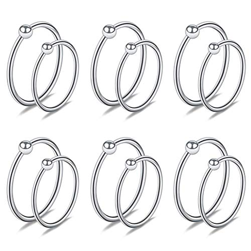 Acefun 12PCS 22G Nose Hoop Lip Eyebrow Tongue Helix Tragus Cartilage Septum Piercing Ring 8mm 10mm Silver Color