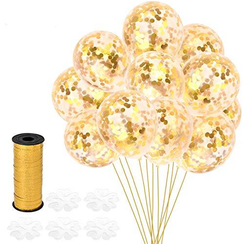 old Konfetti Ballons, Latex Luftballons Ø 30cm mit Golden Folie Konfetti für Geburtstagsfeier Hochzeit Party und Festival Dekoration(25 Stück - Golden) ()