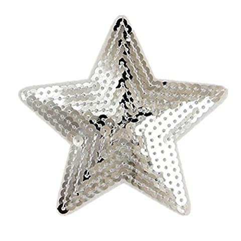 (Pack of 5) 5 Star Shaped Sequin Embroidered Appliques Sew or Iron on Patches-Silver