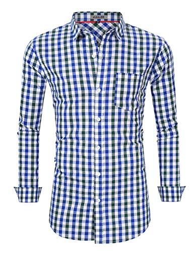 KUULEE Herren Trachten Hemd / Lederhose / Weste für Oktoberfest, Alltag und Freizeit, Hemd - Karo-blau, S