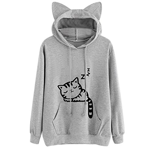 Xmiral Hoodie Pullover Damen Herbst Winter Mädchen Cat Drucken Kapuzenpullover Sweatshirt Casual Langarm Top (L,Grau)