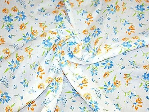 Summer Garden Bleu Tissu d'habillement en polycoton Imprimé floral Vendu au mètre