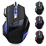 #4: Gaming Mouse 7 Button LED Optical USB Wired Gaming Mouse 7 LED Colours for Pro Gamer By Paper Plane Design
