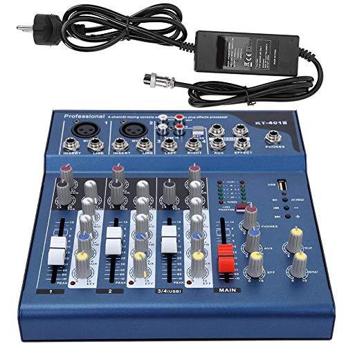 Professioneller Mixer 4 Kanal Mixer Rauscharmer Stereo Mixer Audio Mixer mit USB MP3 Modul AC 100~240V(EU-Stecker)