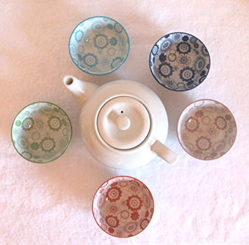 Tee Service im 5 er Set mit Kanne weiss, Asia-Art-Factory, Nr. 150, im blumigen Retro Design