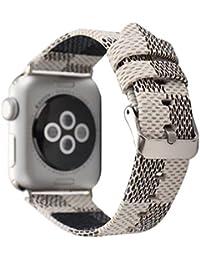 Banda para Apple Watch 38mm 42mm, moda Serpentina correa de muñeca de piel auténtica para mujeres y hombres, para Apple reloj Todas las series,Metal clásico de hebilla (38MM, Blanco)