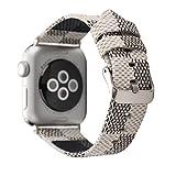 Pour Apple WatchBand 38mm 42mm,la mode Serpentine Cuir véritable Sangle de poignet pour homme et femme, pour l'Apple Watch Toutes les séries ,Boucle classique en métal (42mm, White)