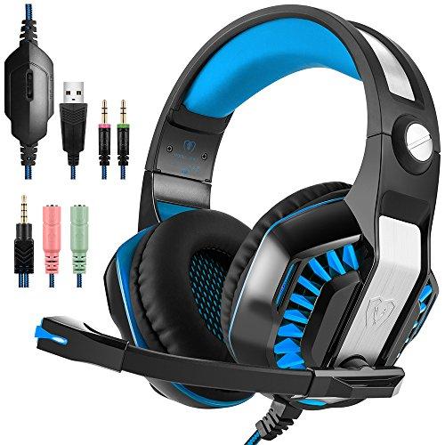 GM-2 Gaming Headset für PS4 Xbox Ein PC Laptop Smartphone Tablet-Handy, AFUNTA Stereo-LED-Kopfhörer mit Mikrofon und Y-Splitter-Schwarz + Blau