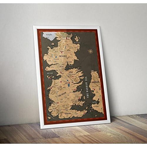 Cartel de Game of Thrones Póster / impresión - Mapa de impresión de Westeros - White Walkers - Casas de Juego de Tronos - Impresiones alternativas de TV / películas en varios tamaños (Marco no incluido) 12