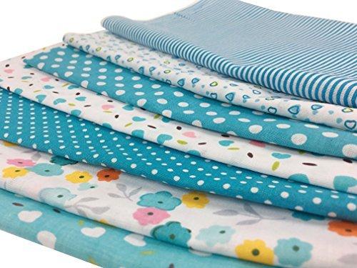7Pcs Baumwollstoff Patchwork Stoffe DIY Gewebe Quadrate Baumwolltuch Stoffpaket zum Nähen mit vielfältiges Muster 50x50cm Hellblau