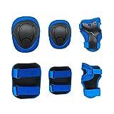 Fontic Kinder Protektoren Set Schutzausrüstung 2 Knieschoner 2 Handgelenk Pads 2 Ellenbogenschutz Für Roller Skating Ice Skate Skateboard Inlineskates (S, Blau)