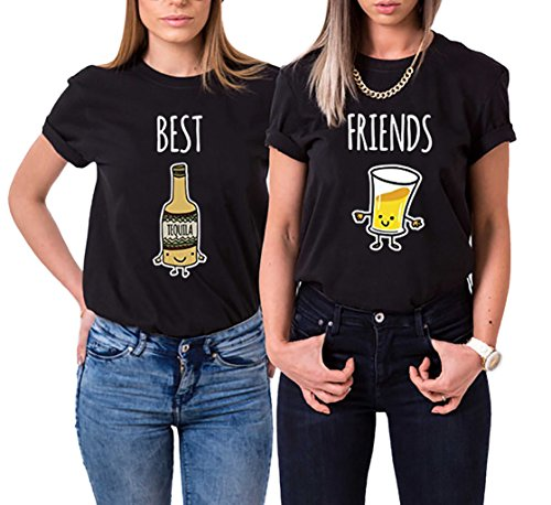 *Best Friends T-Shirt 2er set Partner Passende Kurzarm Für 2 Damen mit Aufdruck BEST und FRIEND von Ziwater (Best-M+Friend-M, Schwarz)*