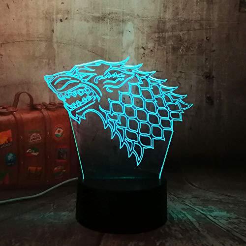 Optische Täuschung Nachtlicht 3D Touch Led Tisch Schreibtischlampe 7 Farbwechsel USB-Ladegerät Powered Touch-Schalter für Mädchen Weihnachten Halloween Mit Cracked bunten Basis, Game Of Rights Wolf