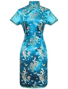 Vestito cinese corte Qipao a maniche corte Abito Donna modello drago taglia 38 al 48