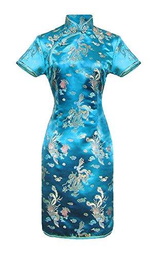 Cheongsam Kleid Muster (Kurzes Chinesisches kleid türkis qipao ärmelkurz Drachenmotiv 40)